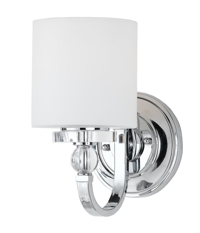 Sarah s bathroom renovation part 6 the lighting stately for Chrome bathroom sconce with shade
