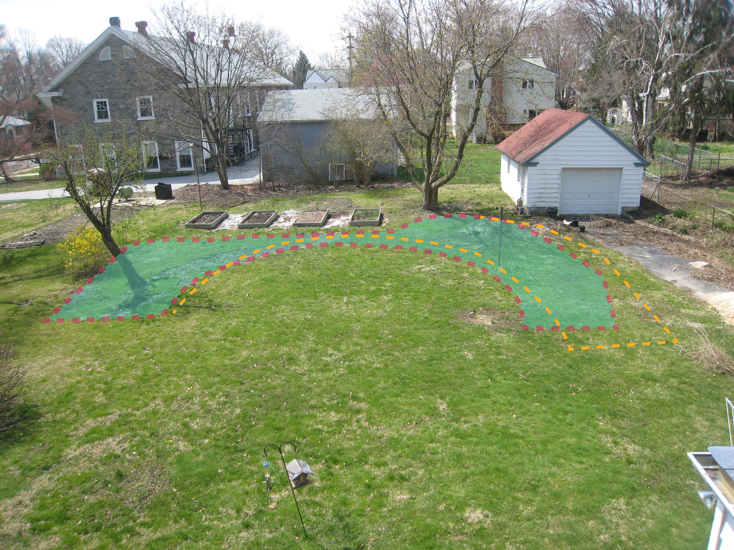 Backyard Makeover Show : the red line and green show the proposed bed the orange line shows the