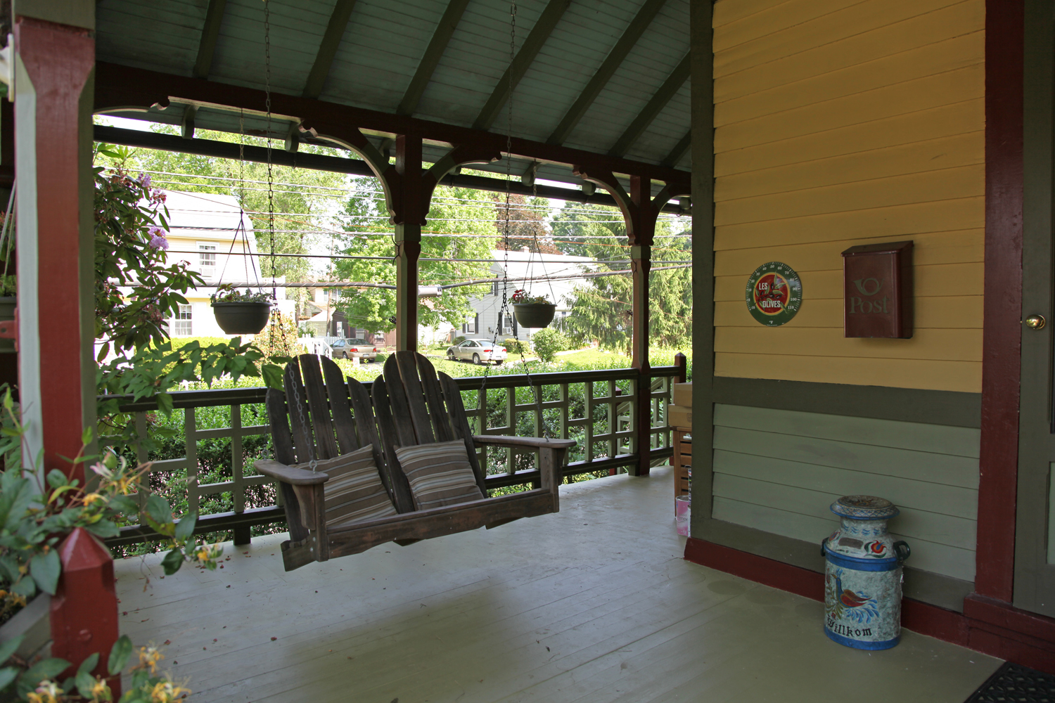 Porch Swing Hung In Its New Location (yes, It Does Still Need To Be Painted)