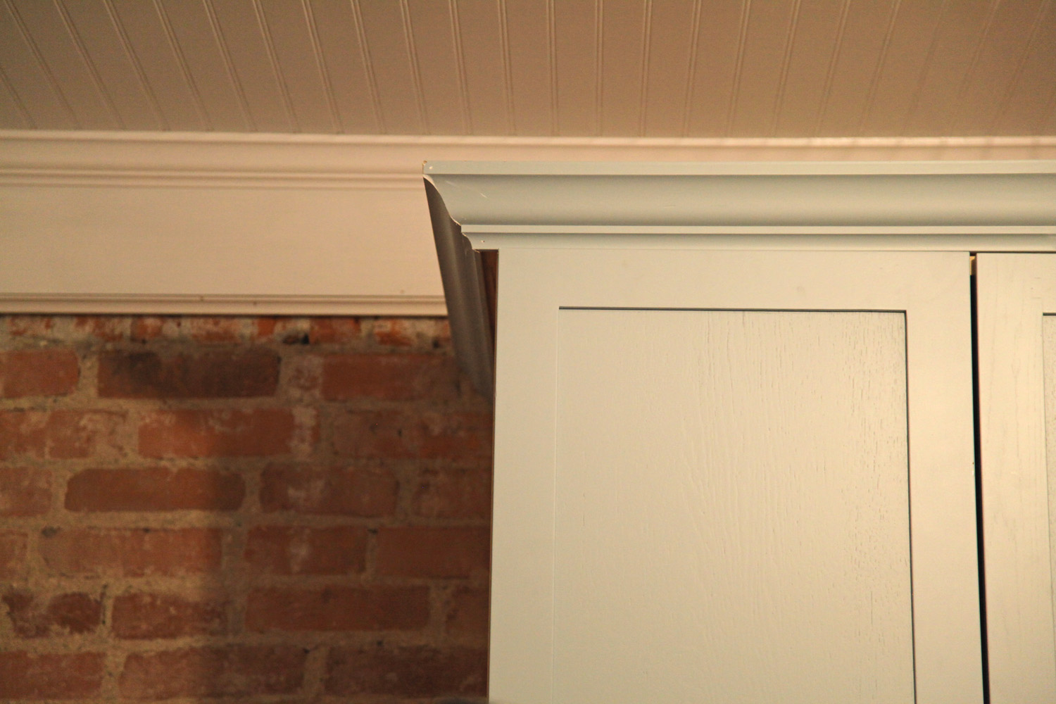 marvelous Kitchen Cabinet Door Trim Molding #4: Painted Cabinet Door w/ matching painted trim (still waiting on final touch  up on crown molding)