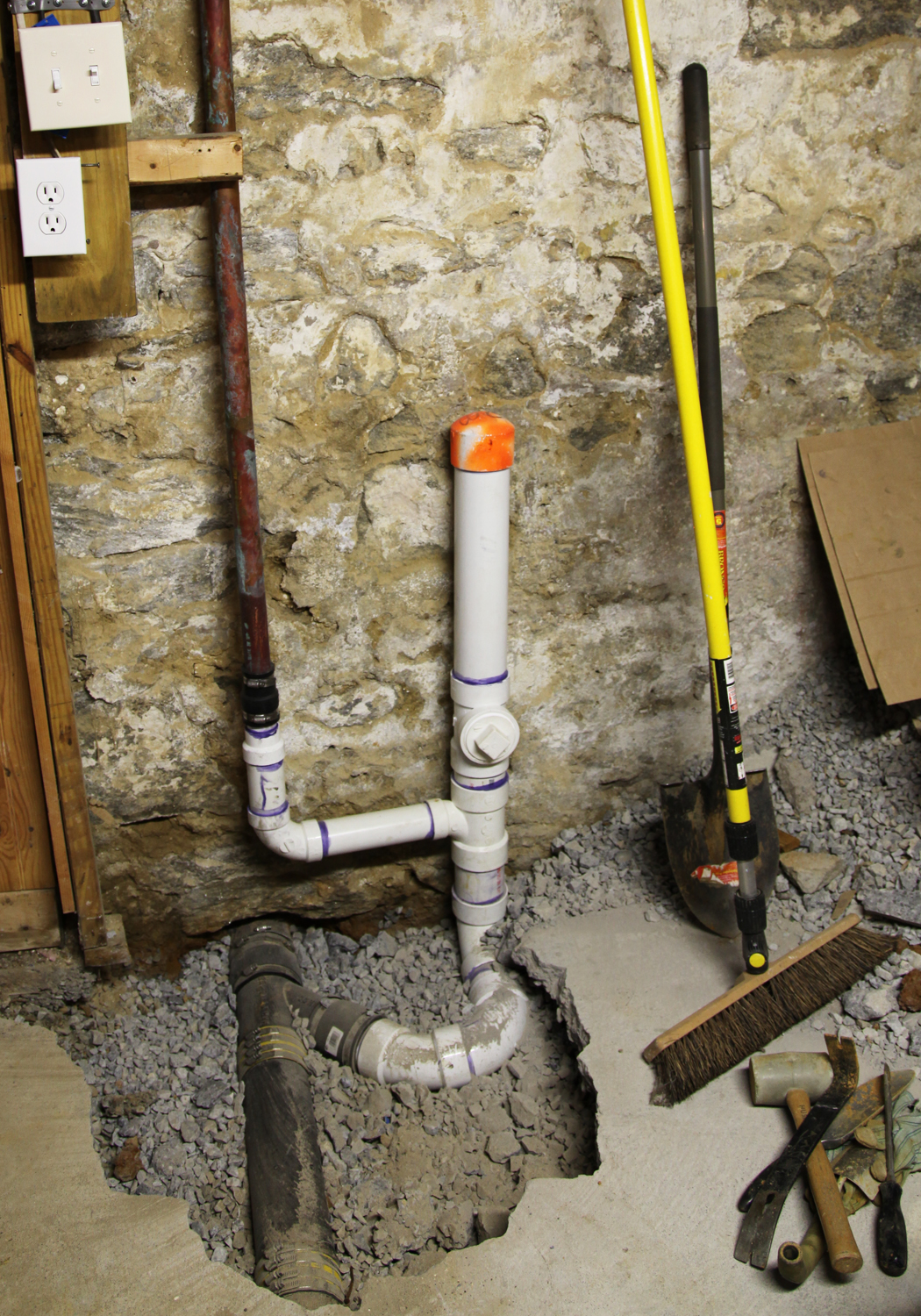 our basement part 9 new waste line drains stately kitsch