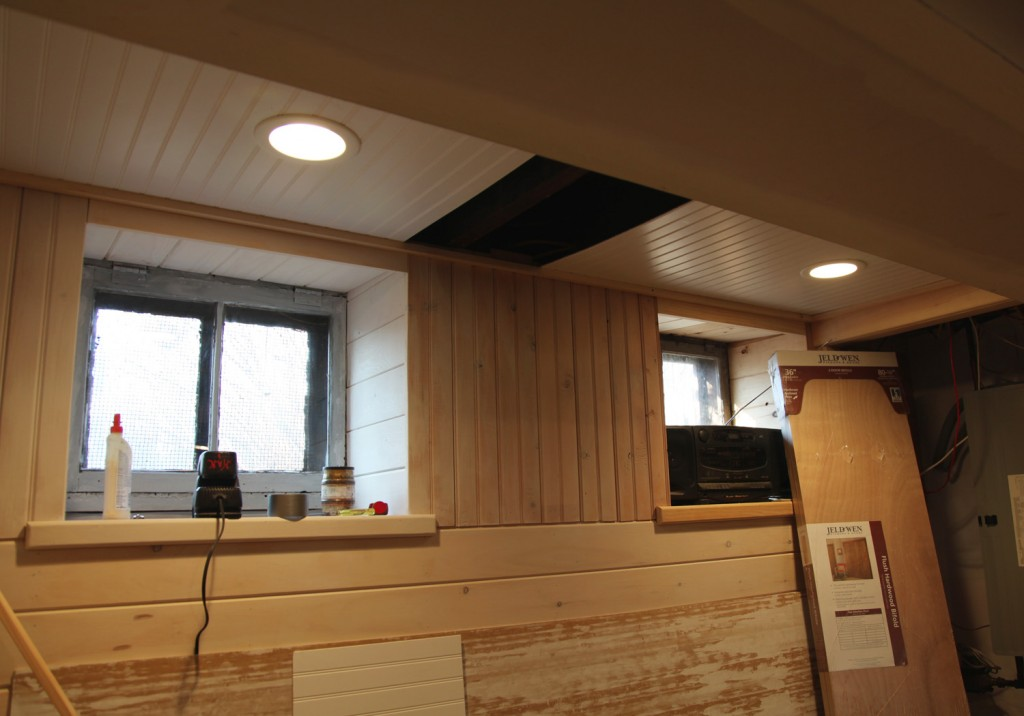 our basement part 31 ceiling led recessed lights more beadboard