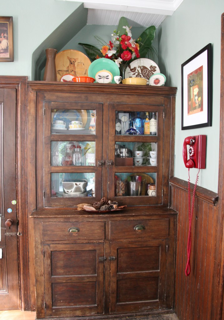built in dining room hutch circa 1920 with new glass doors