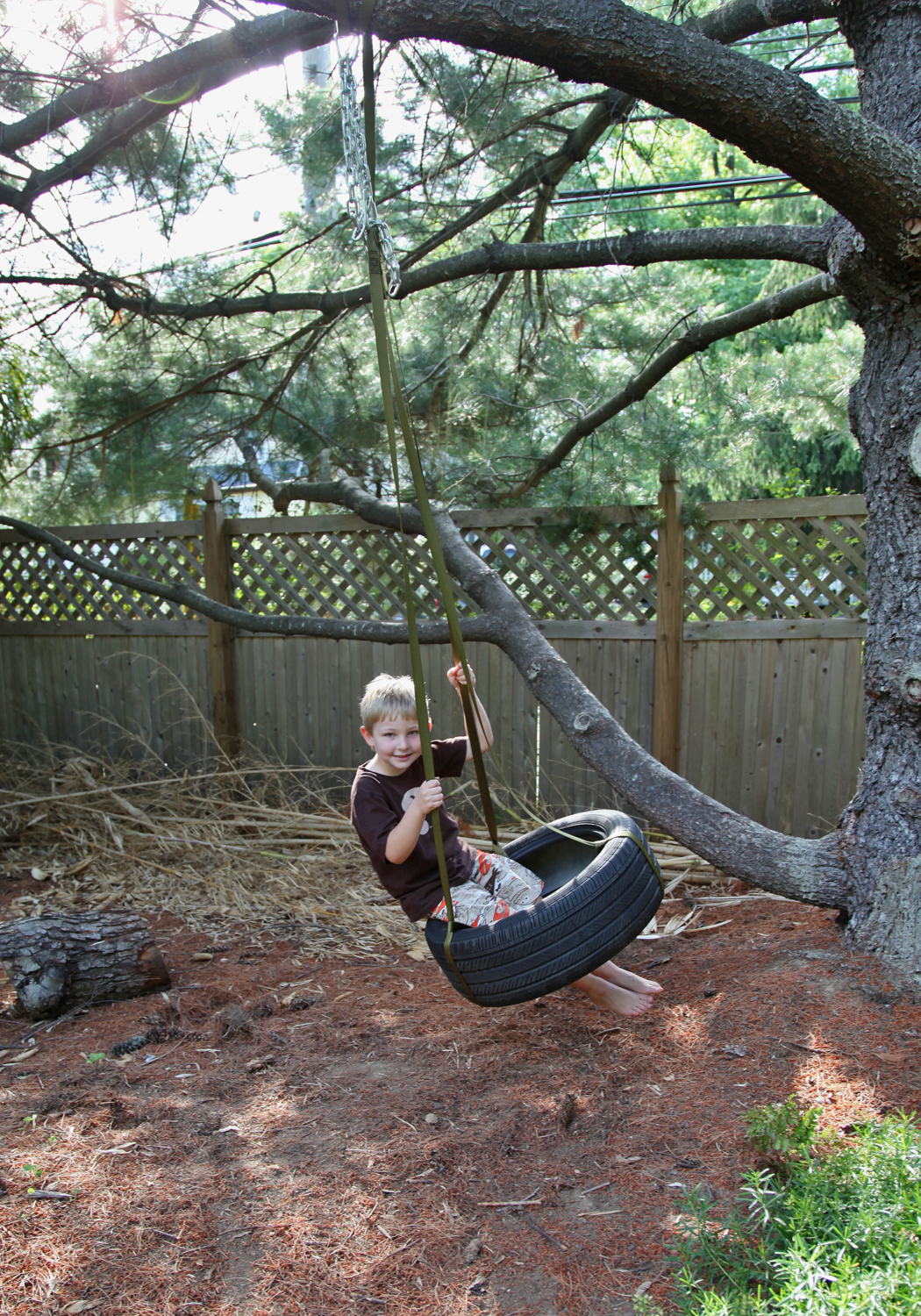Diy tire swing without tree for Tyre swing ideas