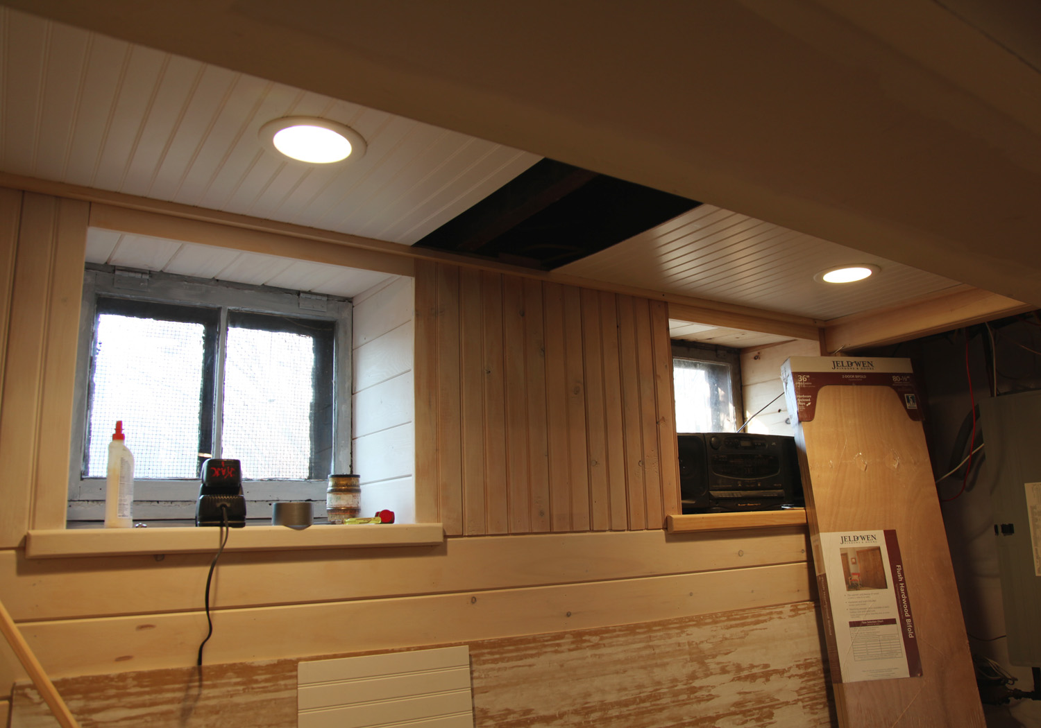 Beadboard options ceiling with removable sections for Basement options