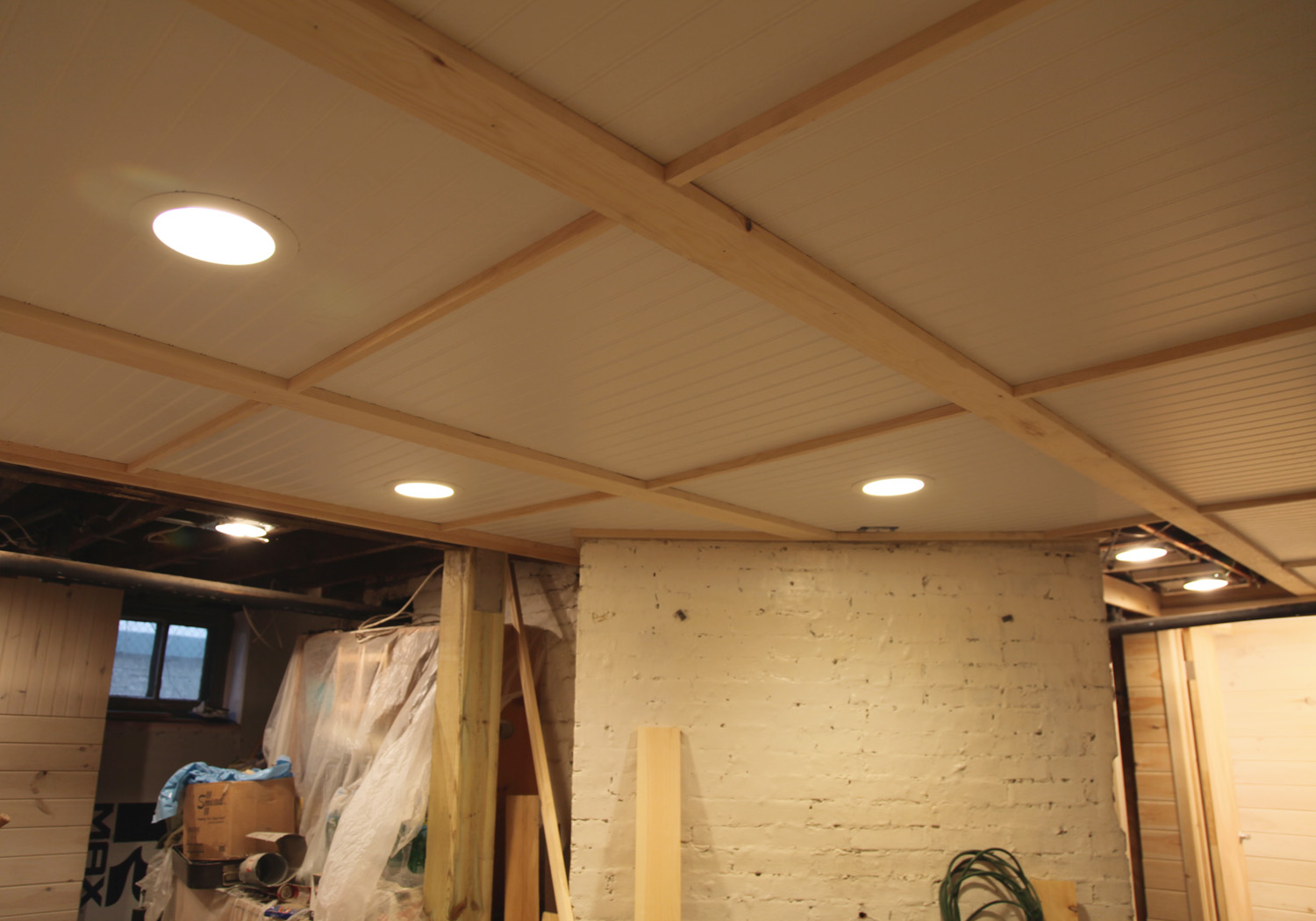 finished basement ceiling. Ceiling Before Painting Beadboard Options  with Removable Sections Stately Kitsch