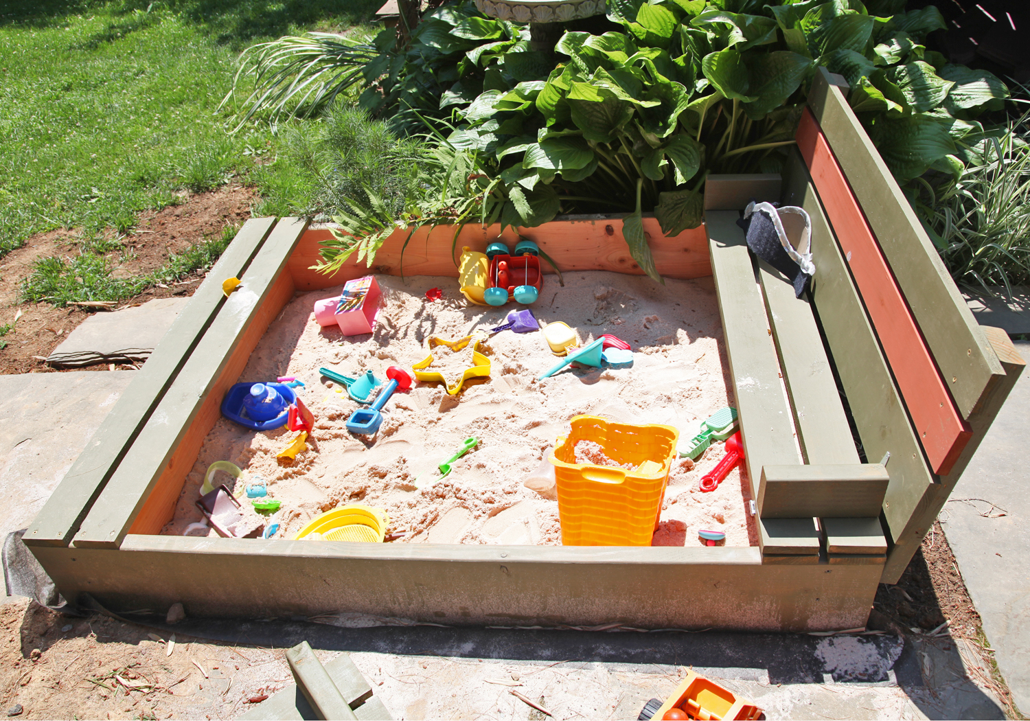 diy sandbox with lid u0026 benches stately kitsch