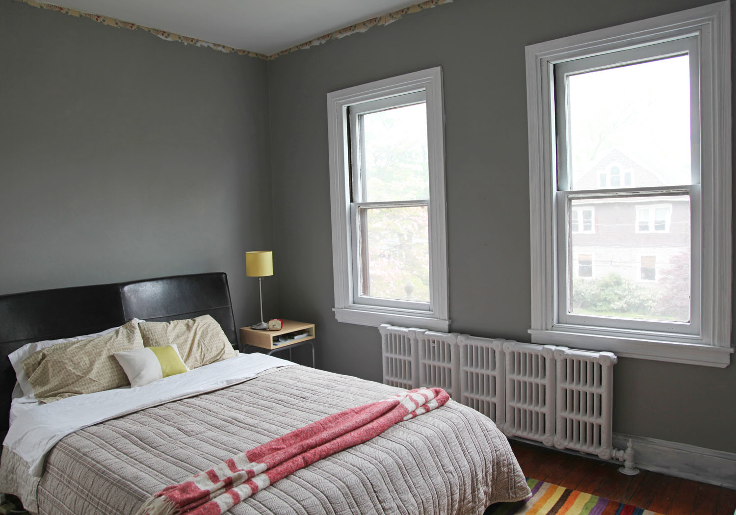 Master bedroom new gray wall color white trim stately for Grey wall bedroom ideas